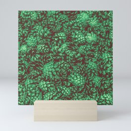 Scent of Pine RETRO GREEN / Photograph of pine cones Mini Art Print