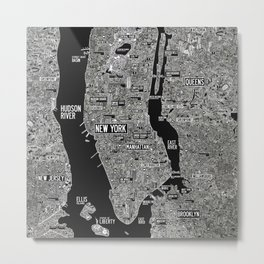 Cool New York city map with street signs Metal Print