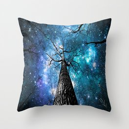 Wintry Trees Galaxy Skies Teal Blue Violet Throw Pillow
