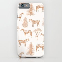 HORSES & TREES Golden Ochre pattern  iPhone Case
