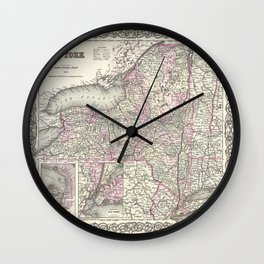 New York Map print from 1855 Wall Clock