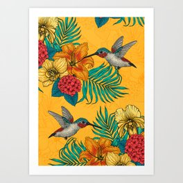 Hummingbirds and tropical bouquet in yellow Art Print