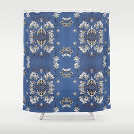 Star-filled sky (Star Magnolia flowers!) - diamond repeating pattern Shower Curtain