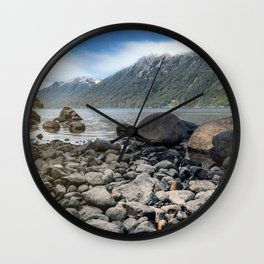 Lake in the mountains Wall Clock