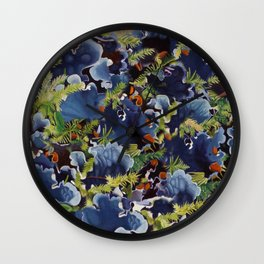 Lichens in blue Wall Clock