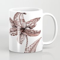 henna Mugs featuring Henna Lily by Elisa Camera