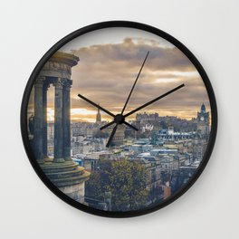 Edinburgh city and castle from Calton hill and Stewart monument Wall Clock