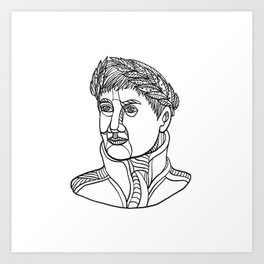 Emperor Wearing Laurel Leaf Mono Line Art Print