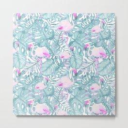 Neon pink green watercolor flamingo tropical leaves Metal Print
