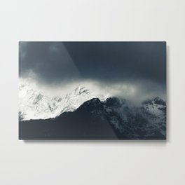 Darkness and light on snow covered mountains Metal Print