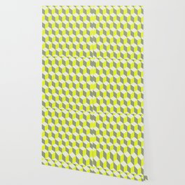 Diamond Repeating Pattern In Limelight Yellow Gray and White Wallpaper