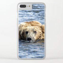 Brown Bear Cooling Off Clear iPhone Case