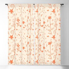 Living Coral Delicate Floral Pattern Blackout Curtain