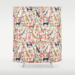Great Dane floral dog breed pet friendly pet pattern great danes pure breed Shower Curtain