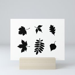 Bold Black Leaves Pattern Mini Art Print