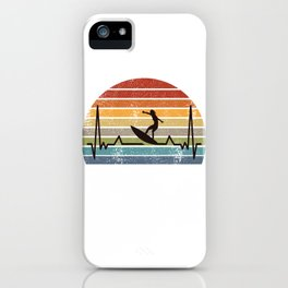 Surfing Heartbeat Retro iPhone Case