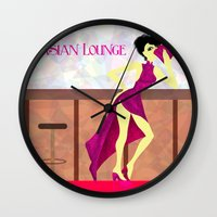 asian Wall Clocks featuring Asian Lounge by Alex Moreno