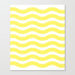 Yellow Abstract Wavy Lines Pattern Canvas Print