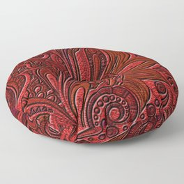 Elegant Oriental Floral Swirl on Red Leather Floor Pillow