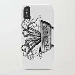 Tentacles in the Tub | Octopus | Black and White iPhone Case
