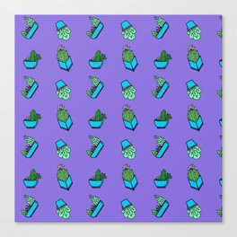 cactus on violet background . Art Canvas Print