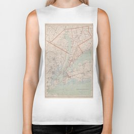 Vintage Map of Westchester County NY (1893) Biker Tank