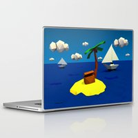 low poly Laptop & iPad Skins featuring Low-Poly Treasure Island by Jorge Antunes