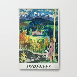 Pyrenees Vintage Travel Poster Metal Print