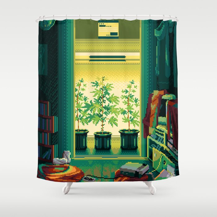 Digital Grower Pixel Art Weed Growing in the closet Shower Curtain