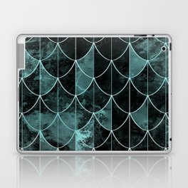 Mermaid scales. Mint and black. Laptop & iPad Skin