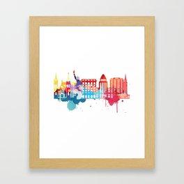 New York Fun Cityscape Watercolor Framed Art Print