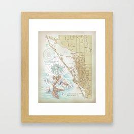 Anais Nin Vintage Mermaid Map Framed Art Print