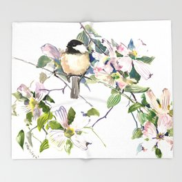 Chickadee and Dogwood Flowers Throw Blanket