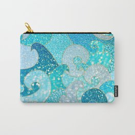 Mermaid Waves And Sea Faux Glitter- Sun Light Over The Ocean Carry-All Pouch