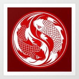 Red and White Yin Yang Koi Fish Art Print