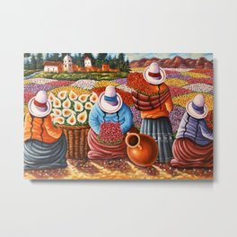 Calla Lilies and Poppy Field Flower Sellers, Bolivia Floral landscape painting Metal Print