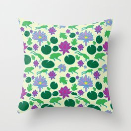 Jumping Frogs of Lily Pad Valley Throw Pillow