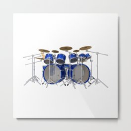 Blue Drum Kit Metal Print