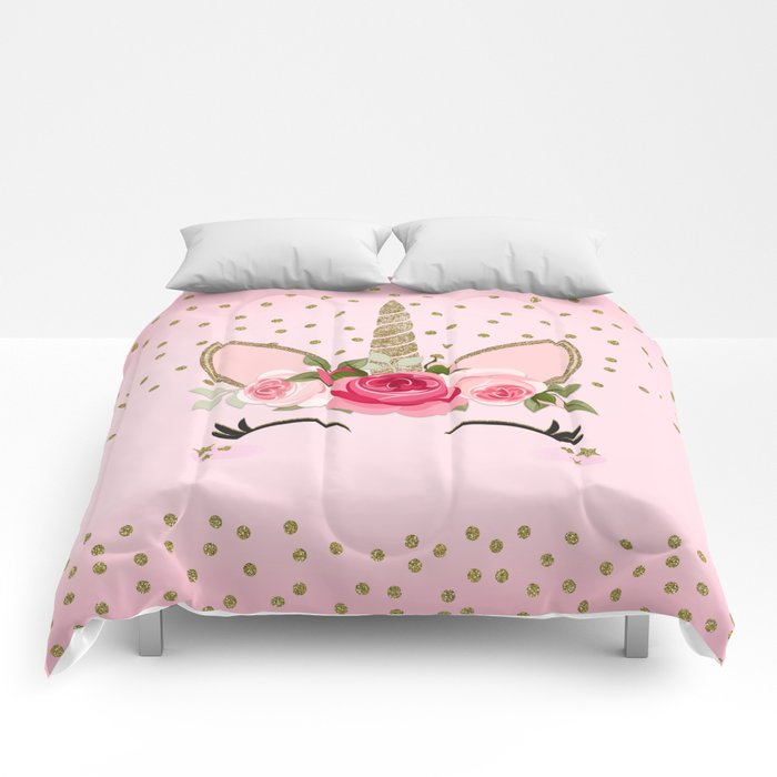 Pink & Gold Cute Floral Unicorn Comforters