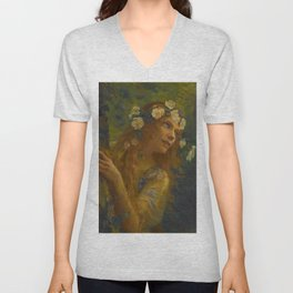 The Light at the End of the Tunnel; Young Woman Dreams in the Woods floral portrait painting by Gaston Bussière  Unisex V-Neck