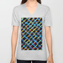 geometric pixel square pattern abstract background in blue yellow red orange Unisex V-Neck