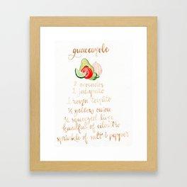 Guacamole Recipe Framed Art Print