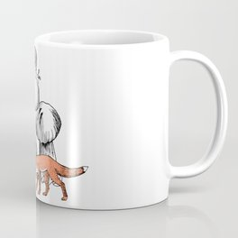 Fantastic forest with mushrooms, snail, rabbit and fox Coffee Mug