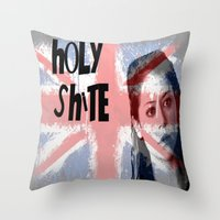 orphan black Throw Pillows featuring Orphan Black  - Holy Shite by Sullied By A Dream