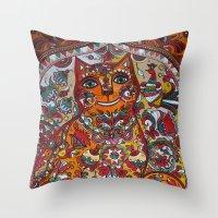 russian Throw Pillows featuring Russian cat  by oxana zaika