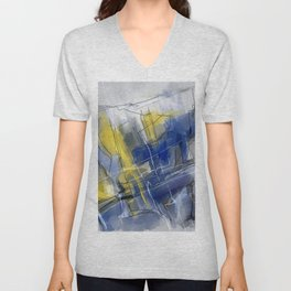 Blue Yellow Abstract Unisex V-Neck