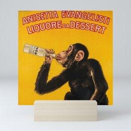 Vintage Anisette Liquor Italian Drinking 'Drunken Monkey' Aperitif Advertisement Poster Mini Art Print
