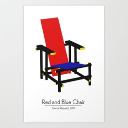 Red and Blue chair - Rood Blauwe stoel - Gerrit Rietveld Art Print