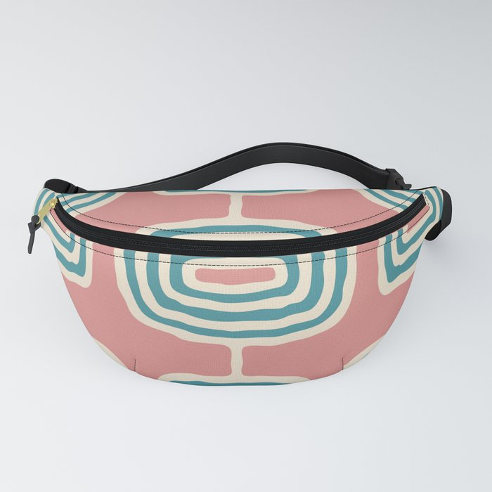 Mid Century Modern Atomic Rings Pattern 246 Turquoise Dusty Rose and Beige Fanny Pack