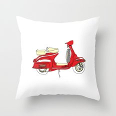Shiny Red Vespa Scooter Throw Pillow